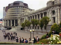 A school group visit New Zealand's Parliament buildings