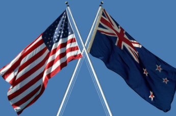 Flags Of The United States America And New Zealand