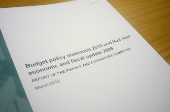 Title page of the report on the Budget policy statement.
