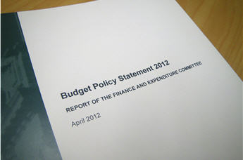 The report of the Finance and Expenditure Committee on the Budget policy statement 2012.