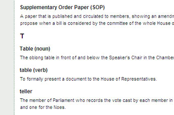 Screenshot of glossary of parliamentary terms.
